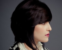 classic short bob dark straight hair side fringes 2012