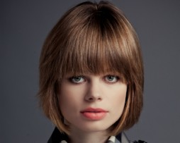 short straight light bob hair style wig fringes blond front