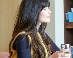 long soft dark brown black hair full bangs fringes straight ombre side look